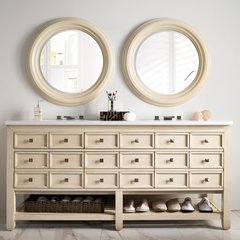 "69"" Victoria Double Vanity w/ Snow White Top-Vanilla Oak"