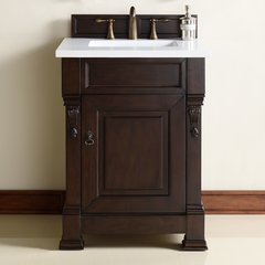 "26"" Brookfield Single Vanity w/ Carrara White Top-Burn Mahog"
