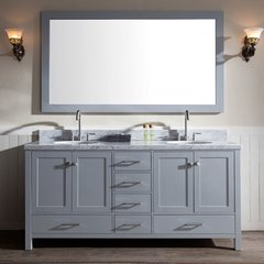 "73"" Cambridge Double Sink Bathroom Vanity - Gray"