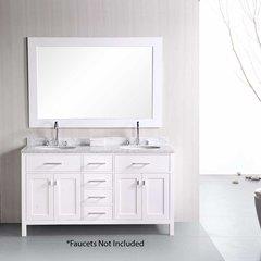 "61"" London Double Sink Bathroom Vanity - White"