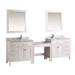 "Two 36"" London Single Sink Vanity w/ Make-up Table - White"