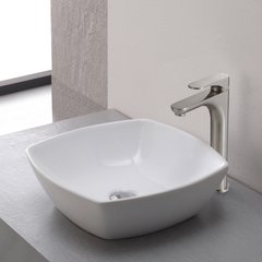 Aquila 1 Handle Vessel Bathroom Faucet - Brushed Nickel