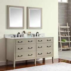 "61"" Delano Double Vanity - Taupe Glaze w/ Carrara White Top"