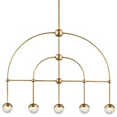 Boca 5 Light Led Island - Aged Brass <small>(#1225-AGB)</small>