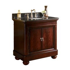 "36"" Mount Vernon Single Sink Vanity w/ Black Top - Merlot"