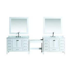 "Two 48"" London Single Sink Vanity w/ Make-up Table - White"