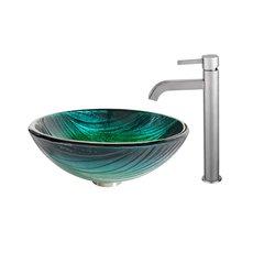 "17"" Nei Vessel Sink w/Faucet - Multicolor/Satin Nickel"