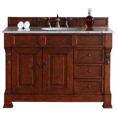 """48"""" Brookfield Single Sink Vanity w/ Marble Top - Warm Cherry"""
