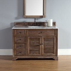 "48"" Savannah Single Vanity w/Carrara White Top-Driftwood"
