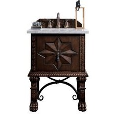 "26"" Balmoral Single Sink Vanity w/ Quartz Top - Antique Walnut"