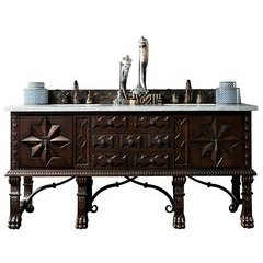 "72"" Balmoral Double Sink Vanity w/ Marble Top - Antique Walnut"