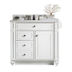 "36"" Bristol Single Sink Vanity w/ Marble Top - Cottage White"