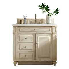 "36"" Bristol Single Sink Vanity w/ Solid Surface Top - Vintage Vanilla"