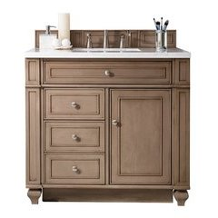"36"" Bristol Single Sink Vanity w/ Quartz Top - Whitewashed Walnut"