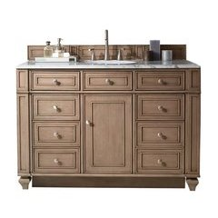 "48"" Bristol Single Sink Vanity w/ Quartz Top - Whitewashed Walnut"