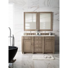"60"" Bristol Double Sink Vanity w/ Marble Top - Whitewashed Walnut"