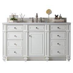 "60"" Bristol Single Sink Vanity w/ Marble Top - Cottage White"