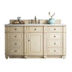 "60"" Bristol Single Sink Vanity w/ Marble Top - Vintage Vanilla"