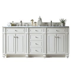 "72"" Bristol Double Sink Vanity w/ Quartz Top - Cottage White"