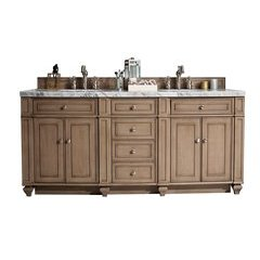 "72"" Bristol Double Sink Vanity w/ Granite Top - Whitewashed Walnut"