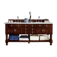"72"" Castilian Double Sink Vanity w/ Quartz Top - Aged Cognac"