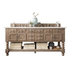 "72"" Castilian Double Sink Vanity w/ Marble Top - Empire Gray"
