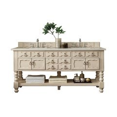 "72"" Castilian Double Sink Vanity w/ Granite Top - Vintage Vanilla"
