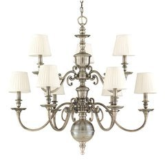 Charleston 9 Light Chandelier - Historic Nickel