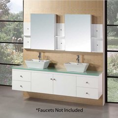 "72"" Portland Double Vessel Sink Bathroom Vanity - White"