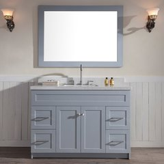 "49"" Hamlet Single Sink Vanity w/ White Quartz Top - Gray"