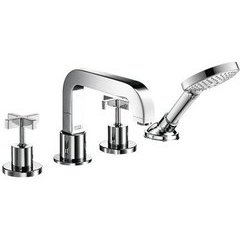 Citterio 4-Hole Roman Tub Set Trim with Cross Handles, 2.0 GPM - Chrome