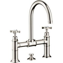 Montreux Widespread Faucet with Cross Handles, Bridge Model - Polished Nickel