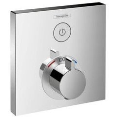hansgrohe ShowerSelect Square Thermostatic 1-Function Trim - Chrome
