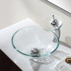 Kraus Vessel Filler w/ Glass Spout- Chrome/Clear Glass KGW-1700CH-CL