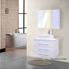 "30"" Portland Single Vessel Bathroom Vanity - White"