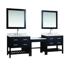 "Two 30"" London Single Sink Vanity w/ Make-up Table -Espresso"