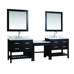 "Two 30"" London Single Sink Vanity w/ Make-up Table -Espresso"