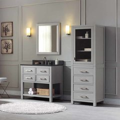 "37"" Brooks Single Vanity - Chilled Gray w/ Black Granite Top"