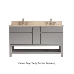 "60"" Tribeca Double Cabinet Only w/o Top - Chilled Gray"