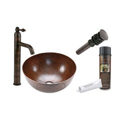 "15"" x 15"" Round Vessel Sink Package - Oil Rubbed Bronze"