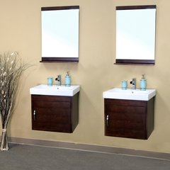 "48"" Matching Single Wall Mount Vanity - Medium Walnut/White"