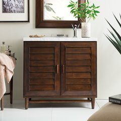 "36"" Portland Single Vanity Cabinet Only-Burnished Mahogany"