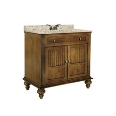 "36"" Barbados Single Sink Vanity w/ Gold Top - Brown Cherry"