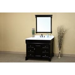 50 Inch Espresso Vanity with White Marble Counter Top and an Oval Sink