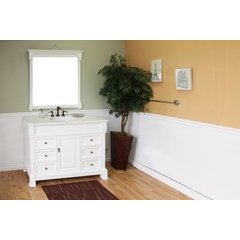 50 Inch White (Rub Edge) Vanity with White Marble Counter Top and an Oval Sink