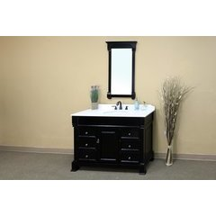 60 Inch Espresso Vanity with White Marble Counter Top and an Oval Sink