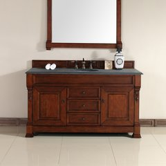 "60"" Brookfield Single Vanity w/ ABS Black Top-Warm Cherry"