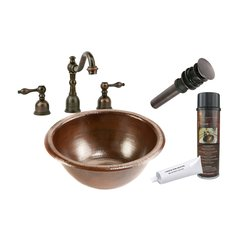 "14"" x 14"" Round Drop-In Sink Package - Oil Rubbed Bronze"