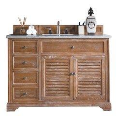 "48"" Savannah Single Sink Vanity w/ Quartz Top - Driftwood"