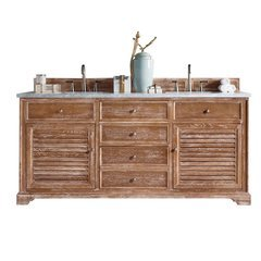 "72"" Savannah Double Sink Vanity w/ Marble Top - Driftwood"